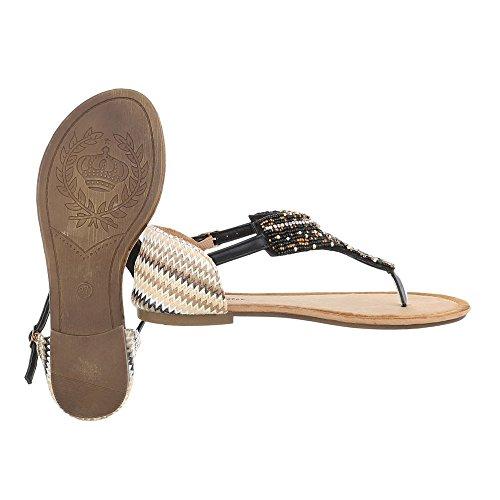 Zehentrenner Damenschuhe Peep-Toe Blockabsatz Zehentrenner Schnalle Ital-Design Sandalen / Sandaletten Schwarz Multi