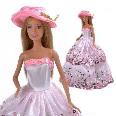 Zantec Pink Prinzessin Hochzeit Outfit Party Kleidung Chrismas Kleid für Barbie Puppe