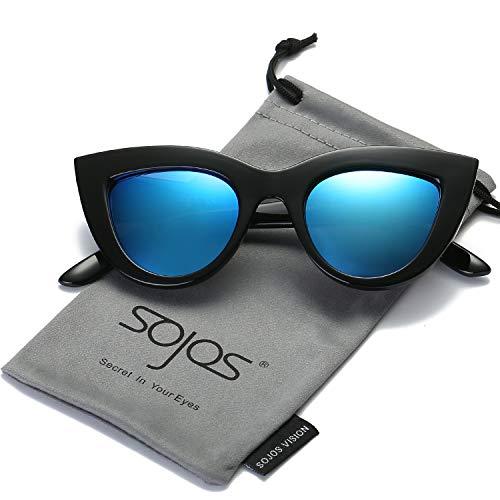 SOJOS Art und Weiseklassische Berühmtheits mutige starke Damen Katzenaugen Sonnenbrille SJ2939 mit Schwarz Rahmen/Blau Linse