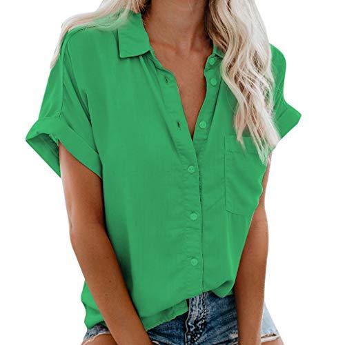 MOTOCO Top Damen Hemd mit Knöpfen V-Ausschnitt Bluse Kurzarmshirt Figurbetonte Hemdbluse Causal Arbeithemden (XL,Grün)