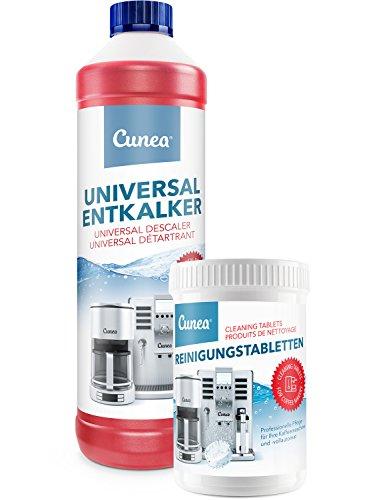 Cunea 750ml Entkalker und 150x Reinigungstabletten für Kaffeevollautomaten Kaffeemaschine geeignet...