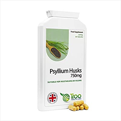 Psyllium Husks 750mg x 90 Capsules - Natural Dietary Fibre for Colon Cleansing & Bowel Health