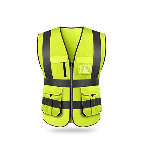 Festnight Chaleco reflectante de seguridad, Alta visibilidad Chaleco reflectante de seguridad con bolsillos y cremallera para trabajos al aire libre, ciclismo, trotar, caminar, deportes