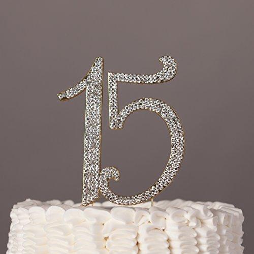 15Tortenaufsatz Strass Metall Dekoration zum 15. Geburtstag gold ()