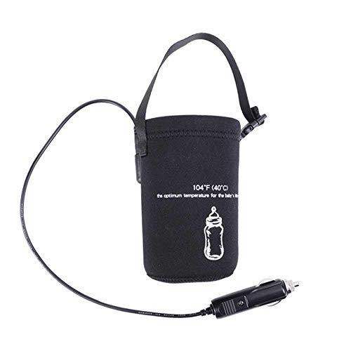 LayOPO Calentador del Calentador de Biberones para Coche Viaje, Portátil USB de 12 V Leche de Viaje con Llenado de Leche Botella de Agua Calentador de Taza para Uso en Excursión (Negro)