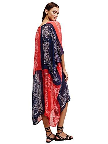 HGDR Sommer-Frauen Loser Großer Chiffon V-Ausschnitt Blumendruck-Kleid Bohemian Strand Sundresses Bikini-Vertuschung Floral