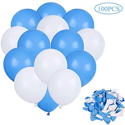 Faburo 100x Luftballons Blau und Weiß Dekoration Ballons für Festival Party aus Latex (Luftballons Und Blaue Weiße)