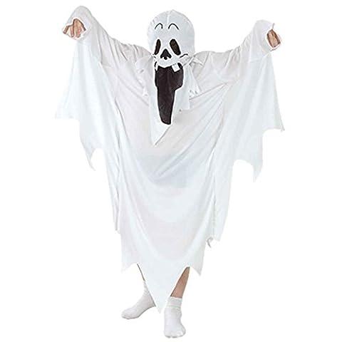 Kinder Jungen Mädchen Halloween Ghost Kostüm Alter 4-6 Jahre (Small (Age 4-6 Years), Weiß)