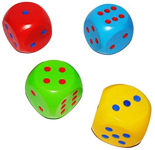 4 Stück: große wasserfeste Würfel - aus Kunststoff - 10 cm * 10 cm - Augenwürfel - rot / blau / gelb / grün - für Drinnen & Draußen - - Gelbe Würfel Große