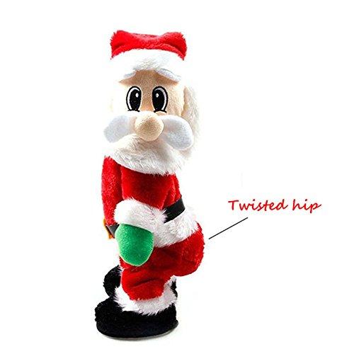 FHD Weihnachten Weihnachtsmann Figur Twisted Hip Twerking Singen Tanz Elektrische Weihnachtsmann Spielzeug für Kinder XMAS Dekorationen Weihnachten Lustige Geschenk und (Kostüme Tanz Unternehmens)