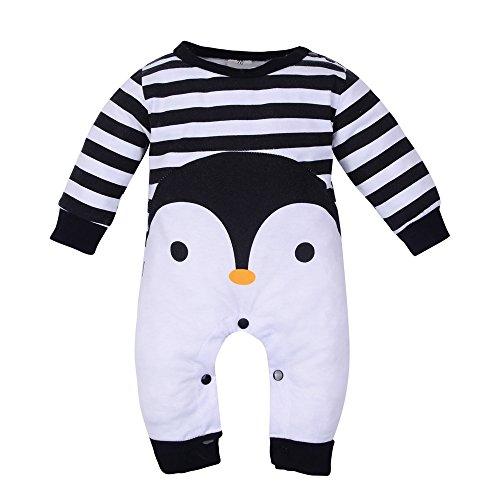 EUZeo Neugeborener Baby Unisex Bodys Langarm Hülse Pinguine Fringe Spielanzug Overall Pyjama (Black, 70) (Pinguin-kurzarm-pullover)