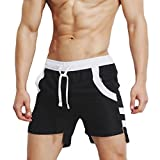 QinMM Herren Badehose Hosen Bademode Shorts Slim Wear Atmungsaktive Bikini Badeanzug (Asian Size:M, Schwarz)
