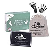 Cherished Baby - Black Ink Handprint/Footprint Ink Pad Kit - 100% Baby Safe (Complies with ASTM-D4236) Comes with Lifetime Inkpad Guarantee + Organic Drawstring Bag & Retail Gift Box