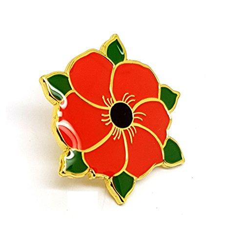 Rot Poppy Blume mit grünen Blättern Remembrance Day Geschenk Metall Emaille Brosche | Hohe Qualität Metall Emaille Pin Badge Revers Brosche Neuheit zum Sammeln Geschenk Schmuck für Kleidung Shirt Jacken - Manschettenknöpfe-button-shirt