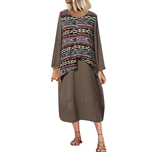 Deep lovly Frauen Kleid Women's Casual Kleid Rundhalsausschnitt Lange Ärmel Damen Mode Drucken Vintage Abendkleider Business Cocktailkleider Freizeit Party Dress