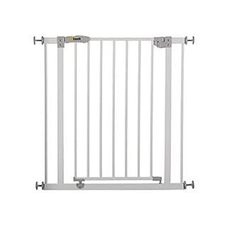 Hauck Open N Stop Türschutzgitter/Treppengitter/75-80 cm/ohne Bohren/erweiterbar mit Verlängerungen von 9 cm und 21 cm bis 122 cm/ kombinierbar mit Y-Spindeln/ Metall/beidseitig schwenkbar/weiß