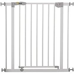 Hauck / Barrière de Protection Open N Stop / pour enfants, chiens et chats / 75 - 81 cm / fixation sans perçage / à serrer / porte ouvrable dans les deux sens / réglable et à rallonger jusqu'à 123 cm, blanc (white)