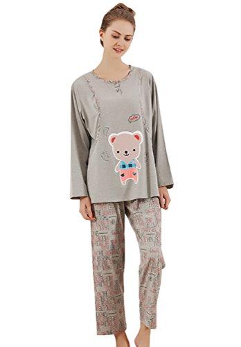 YouPue Vêtements Maternité Ensemble De Pyjama Pyjamas Sets Femmes Manches Longues Homewear Loungewear Mignon Impression Gris