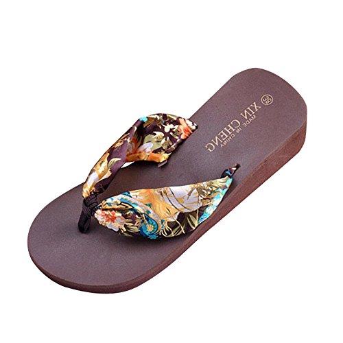 Alikey Mode Femmes été Floral Satin Tongs Chaussures Sandales Plage Décontractée Pantoufles à Talons Hauts Café