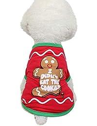 Navidad Mascotas suéter Invierno Perro Traje Camiseta Impresión de Galletas Caliente Ropa de Abrigo Gusspower