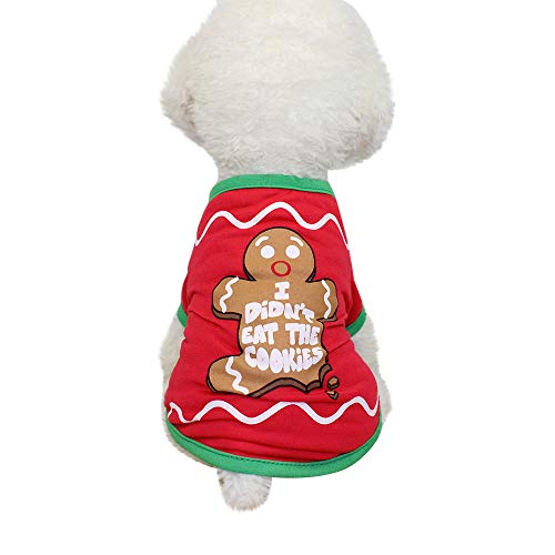 (BBring Christmas Hundebekleidung T-Shirt Sweater Hundepullover Kostüm Kleidung für für Haustier Hundekatze Kleiner Welpe (S,Rot))