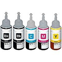1 Set + 1 Black Colour Direct Compatible Refill Ink Bottle Replacement For Epson T6641 T6642 T6643 T6644 - EcoTank ET-14000 ET-2500 ET-2550 ET-2600 ET-2650 ET-3600 ET-4500 L355 L555 Printers