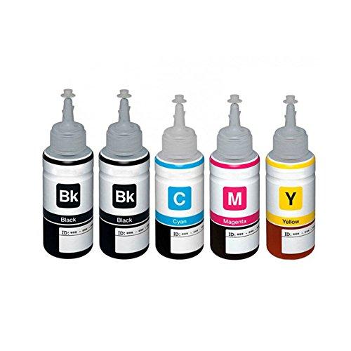 Preisvergleich Produktbild 1 Set + 1 Schwarz Colour Direct Kompatibel Nachfüll-Tintenflasche Ersatz Zum Epson T6641 T6642 T6643 T6644 - EcoTank ET-14000 ET-2500 ET-2550 ET-2600 ET-2650 ET-3600 ET-4500 L355 L555 Drucker