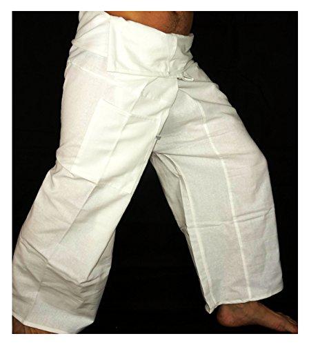Fisherman Thaï Pantalon Pêcheur Homme Yoga Taille unique Yoga tissu épais Blanc