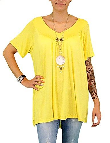 S&LU tolles, sehr bequemes Damen-Oversize-Shirt mit Kette V-Neck Größe 38-46 Türkis