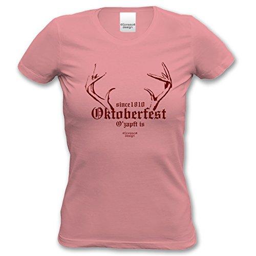 Damen-T-Shirt-Girlie-Shirt :-: Volksfest-Fasching-Karneval-Oktoberfest-Outfit-Kostüm :-: Since 1810 Oktoberfest :-: Geschenkidee :-: Muttertag Geburtstag :-: Farbe: rosa Gr: (Kostüme 1810)
