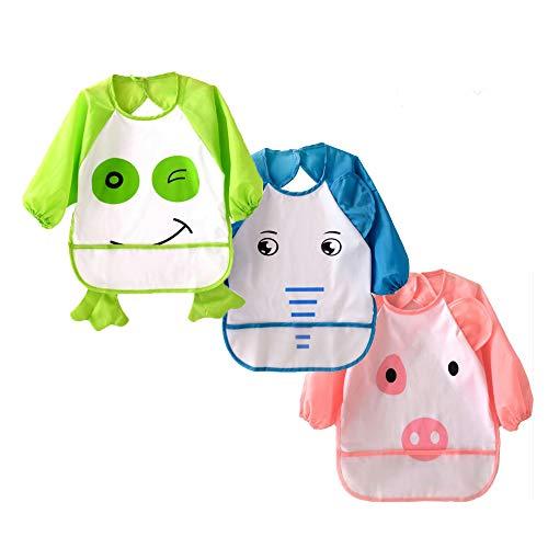 Funxim Baberos de alimentación impermeables del bebé con las mangas, 3 pedazos unisex delantal de Arts/Painting, modelo lindo del elefante del rana del cerdo para los niños pequeños de 0.5-3 años