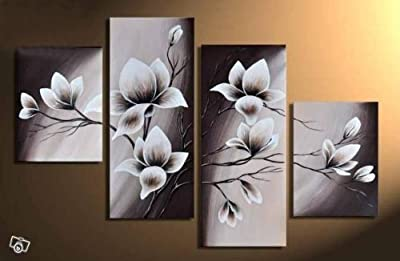 Wieco Art - Elegant Blooming Flowers 4 panels Modern 100% Hand Painted Floral Oil Paintings Artwork on Canvas Wall Art Set Ready to Hang for Living Room Bedroom Decor - low-cost UK canvas shop.