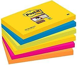 Post-it Super Sticky Notes Rio de Janeiro Collection 6556SR - Selbstklebende Haftnotizzettel in 76 x 127 mm - 6 Notizblöcke rechteckig à 90 Blatt in 5 Farben, ultragelb,blau,pink, neongrün,orange