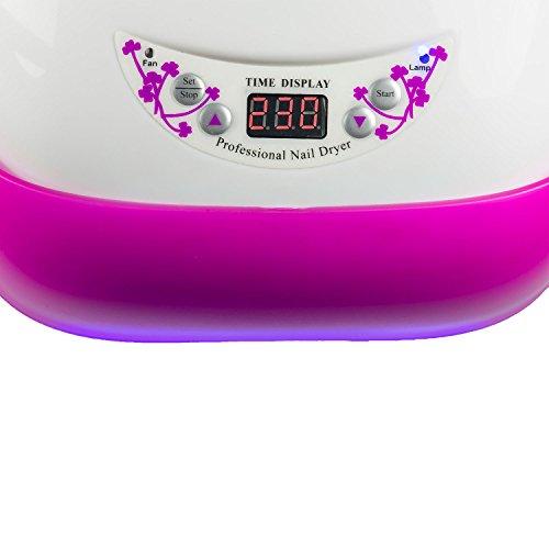 N&BF 36 Watt UV Lampe / Lichthärtungsgerät mit Lichtschranke Weiss/Pink für Gelnägel mit Timer & Dauerbetrieb Lichthärtegerät Nageltrockner Nail Dryver Nagellampe für Nageldesign Nailart & Gel Nägel - 3