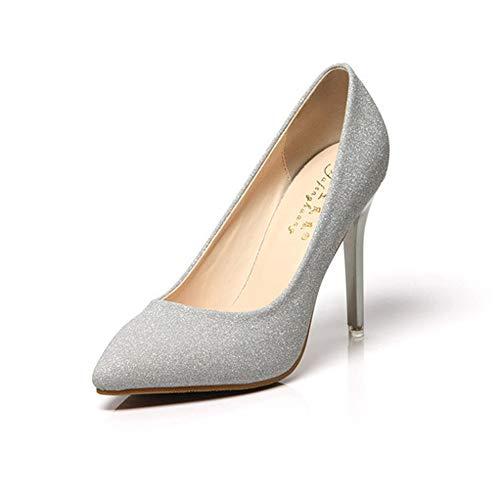 Fenghz-Shoes Schuhe Mode Mode Vielseitig Bequeme Nacht Bankett Single Heel Schuhe New Shallow Mouth Spitz Stiletto Heels (Farbe : White, Size : US5.5) Nacht Schuhe