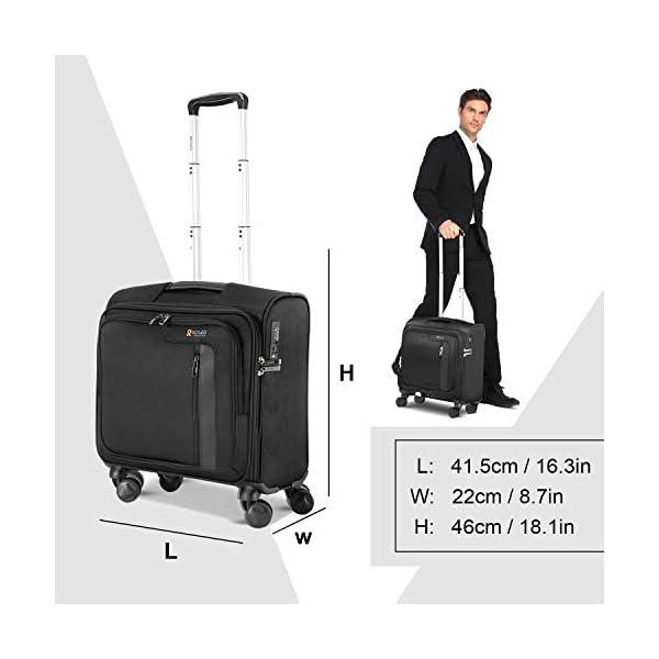 Maleta Portátil con Ruedas, Trolley Ordenador de Negocios con Candado TSA y 2 Compartimentos, Se Adapta a Ordenador Portátil hasta 14″ REYLEO LRB1A