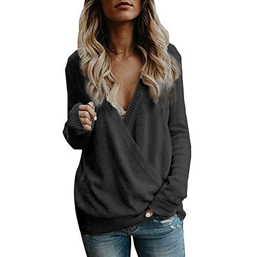 Frauen Schöne Pullover gestrickt Damen Oversize Elegant mit tiefem V-Ausschnitt Langarm Große Größe Strickpulli Oberteile Sexy Wrap vorne lose Pullover URIBAKY