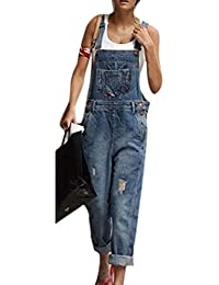 Hibasing Pantalone Jeans Denim Tuta Donna Bavaglino da Lavoro ea8009ae3b7