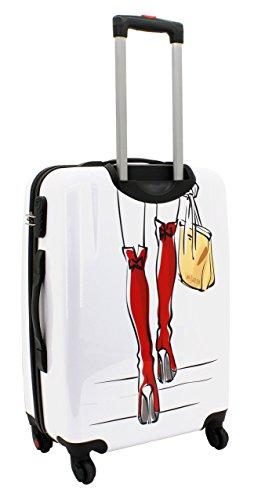 F|23, Hartschalen Trolley, Höhe: 50 cm, Mit Zahlenschloss, 4-Rollen-System, Tresor, Silber, 77046-95 rot/weiß