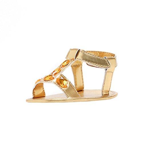 MiyaSudy Neugeborenes Baby Schuhe Mädchen Sommer Sandalen Weiche Alleinige Prinzessin Lauflernschuhe Gold