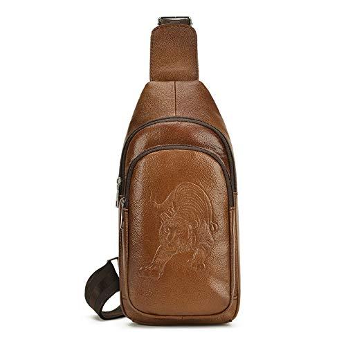 Koreanische Version der Leder Herrentasche lässig Tiger Muster Brust Baotou Schicht Rindsleder Outdoor Messenger Bag braun