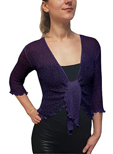Strecken Fisch-Netz Boleroshrug Mutterschaft Krawatte an der Taille Cardigan (Eine Größe passt DE 34-48, Dusty Purple) ()