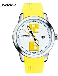 Sinobi Casual Running mujeres relojes, Auto de fecha gran Dial silicona reloj cuarzo hombre Deporte Relojes de pulsera
