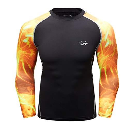 T.boys Herren Kompressions-Shirt Langarmshirts Funktionsshirts Lang Trainingsanzug Atmungsaktiv Sportwear Fitness für Laufen Radfahren Yoga -