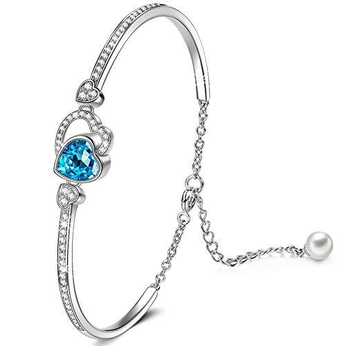 Kami Idea Ewig Bei Dir Armband für Damen mit Swarovski Steinen Blaues Herz Schmuck Geschenke zum Geburtstag Weihnachten Jubiläum Hochzeit Mutter Frau Tochter Mädchen Freundin Frauen Ihr