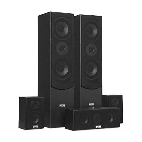 auna Surround Lautsprecher Boxen Set • Surround Sound-System • Heimkinosystem • Bassreflex-Chassis • 335 W RMS • max. 1.150 W Gesamtleistung • Wandmontage möglich • 5 Boxen • inkl. Kabelset • schwarz - 2