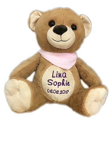 KIDDI-MEDIA Teddy Bär mit Name & Geburtsdatum Bestickt / Geschenk zur Taufe Geburt / personalisiert 30 cm (Halstuch: Rosa (MÄDCHEN)