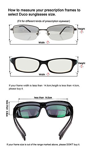 a76a4d2637b Duco Unisex Wear Over Prescription Glasses Rx Glasses Polarized Sunglasses  8955