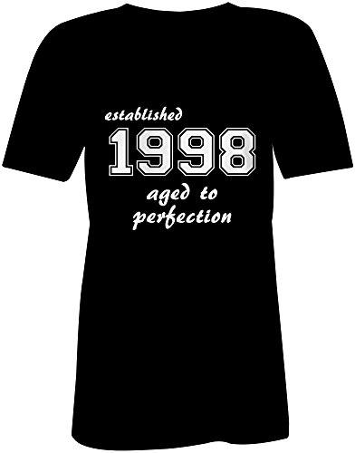 Established 1998 aged to perfection ★ V-Neck T-Shirt Frauen-Damen ★ hochwertig bedruckt mit lustigem Spruch ★ Die perfekte Geschenk-Idee (01) schwarz