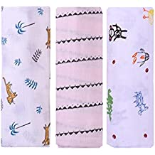 MOM'S HOME Organic Cotton Baby Muslin Cloth Swaddle - Pack Of 3 - Butterfly ,Royalelephant,Turtle - 0-3 Months - Multi Color